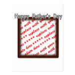 Father's Day Square Brown Photo Frame Postcard