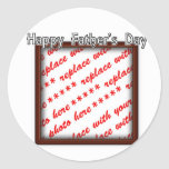 Father's Day Square Brown Photo Frame Round Stickers