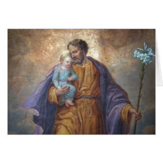 Father's Day St. Joseph Baby Jesus Cross Lily Card