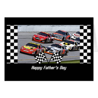 Father's Day Stock Car Racing Checkered Details Card