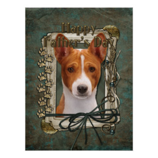 Fathers Day - Stone Paws - Basenji Posters
