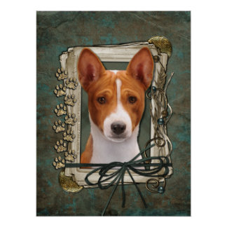 Fathers Day - Stone Paws - Basenji Poster