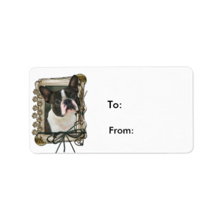 Fathers Day - Stone Paws - Boston Terrier Address Label