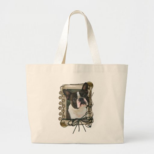 Fathers Day - Stone Paws - Boston Terrier Tote Bag