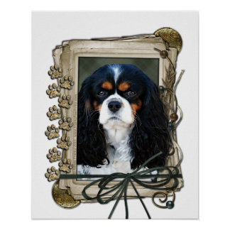 Fathers Day - Stone Paws - Cavalier - Tri-Color Poster