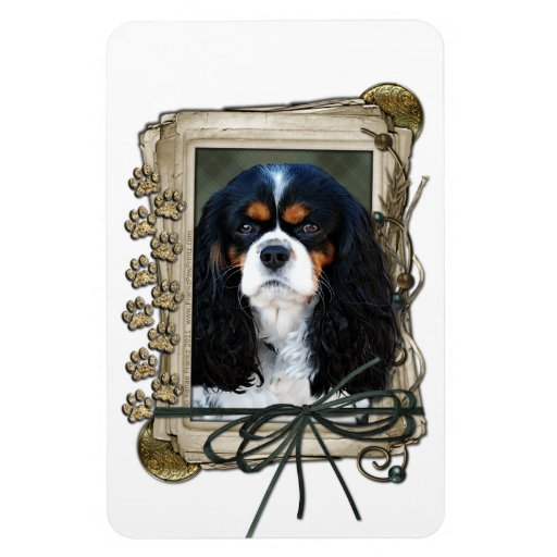 Fathers Day - Stone Paws - Cavalier - Tri-Color Vinyl Magnets