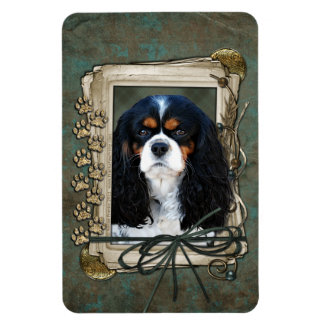Fathers Day - Stone Paws - Cavalier - Tri Color Rectangle Magnet