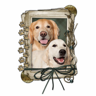 Fathers Day - Stone Paws - Goldens Corona and Tebo Standing Photo Sculpture