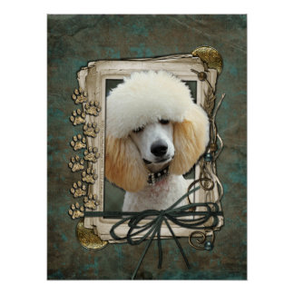 Fathers Day - Stone Paws - Poodle - Apricot Posters