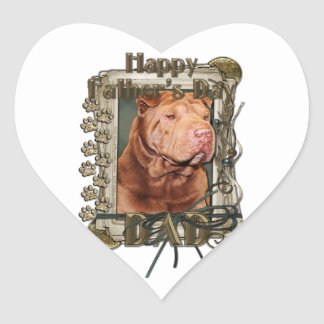 Fathers Day - Stone Paws - Shar Pei - Lucky Heart Sticker