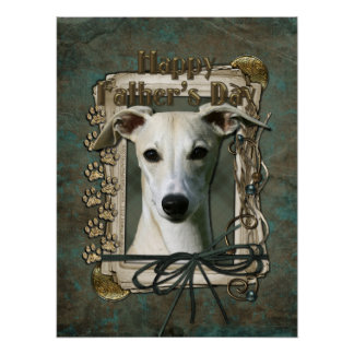 Fathers Day - Stone Paws - Whippet Poster