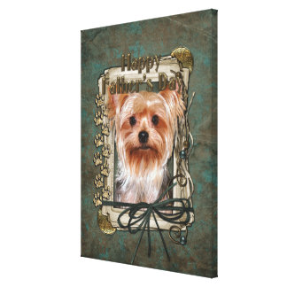 Fathers Day - Stone Paws - Yorkshire Terrier Stretched Canvas Prints