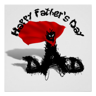 Father's Day Super Dad Scribble Text With Cape Posters