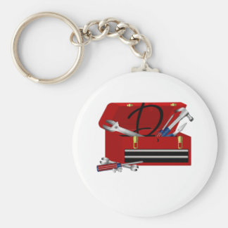 Father's Day Tool Box Initial D Basic Round Button Key Ring