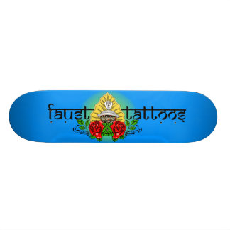 FAUST TATTOOS TRADITIONAL ROSE HINDU GRAFFITI LOGO CUSTOM SKATE BOARD