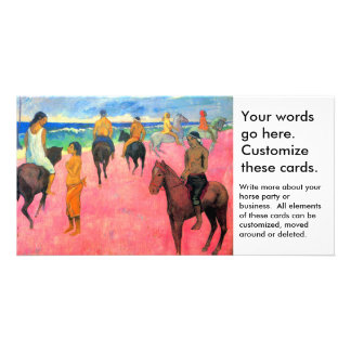 Fauvist painting Gauguin horse art riders on beach Personalized Photo Card