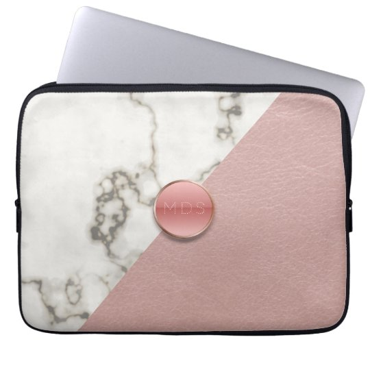 Faux 3D Blush Pink Leather Marble Laptop Sleeve