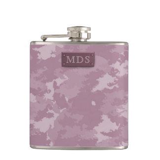 Faux 3D Monogram Rose Pink Camo Flask