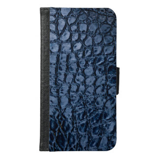Faux Alligator Blue Reptile Skin Leather Samsung Galaxy S6 Wallet Case