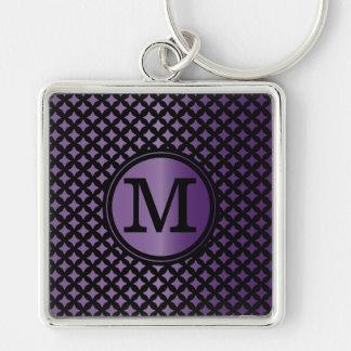 Faux Amethyst and black chic monogram Key Ring