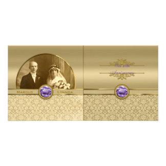 Faux Amethyst Gemstone Metallic Shiny Gold Damask Customised Photo Card