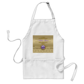 Faux Amethyst Gemstone Shiny Metallic Gold Damask Adult Apron