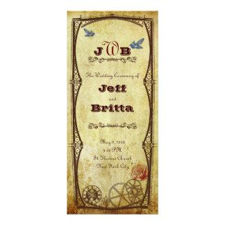 Faux Antique Gold Victorian Steampunk Wedding Rack Card