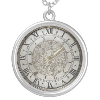 Faux Antique Watch Face Silver Plated Necklace