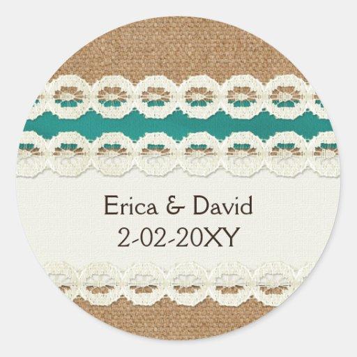 FAUX aqua lace and burlap , wedding seals Round Stickers
