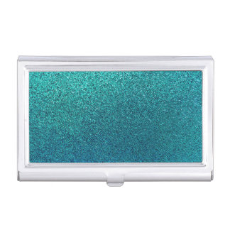 Faux Aqua Teal Turquoise Blue Glitter Background Business Card Holder
