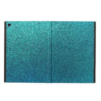 Faux Aqua Teal Turquoise Blue Glitter Background iPad Air Cover