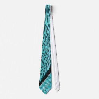 Faux Aqua Zebra Stripe & Jeweled Mojo Neck Tie