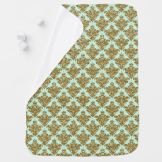 Faux Baby Green and Gold Glitter Small Damask Baby Blanket