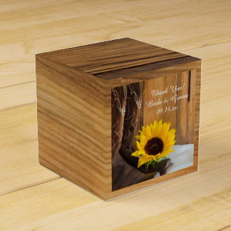Faux Barn Wood Country Sunflower Western Wedding Favour Box