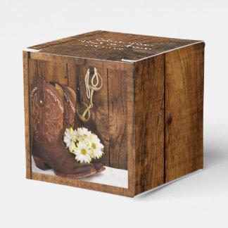 Faux Barn Wood Cowboy Boots Daisies Horse Wedding Favour Box