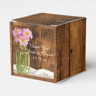 Faux Barn Wood Mason Jar and Pink Daisies Wedding Favour Box