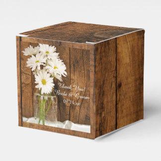 Faux Barn Wood Mason Jar and White Daisies Wedding Favour Box