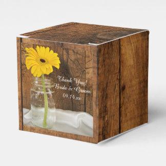 Faux Barn Wood Mason Jar and Yellow Daisy Wedding Favour Box