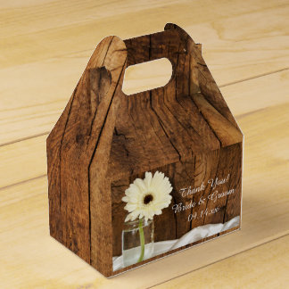 Faux Barn Wood Mason Jar White Daisy Barn Wedding Favour Box
