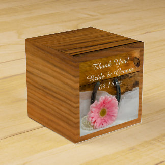 Faux Barn Wood Pink Daisy and Horseshoe Wedding Favour Box
