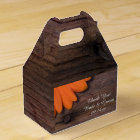 Faux Barn Wood Rustic Orange Daisy Wedding Favour Box