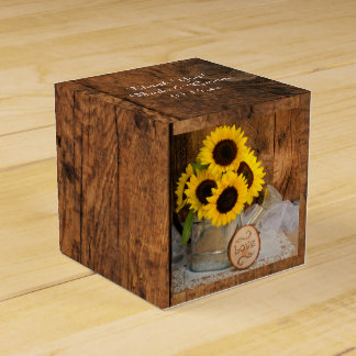 Faux Barn Wood, Sunflower and Watering Can Wedding Favour Box