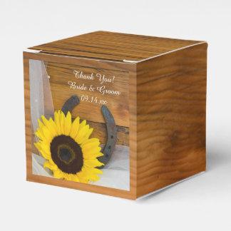Faux Barn Wood Sunflower Horseshoe Western Wedding Favour Box
