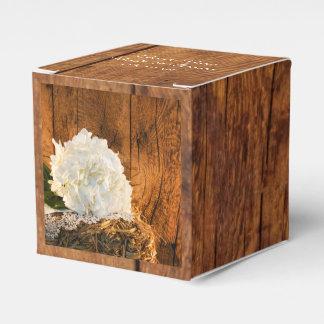 Faux Barn Wood, White Hydrangea Barn Wood Wedding Favour Box
