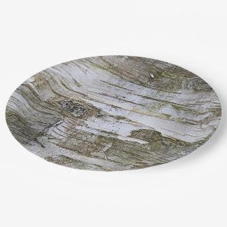 Faux Birch Tree Bark Texture Look Pattern Paper Plate