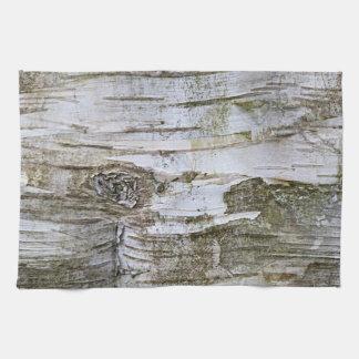 Faux Birch Tree Bark Texture Look Pattern Tea Towel