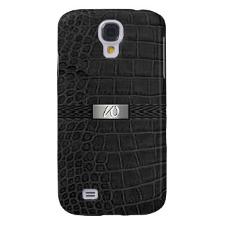 Faux Black Alligator Monogram Galaxy S4 Covers