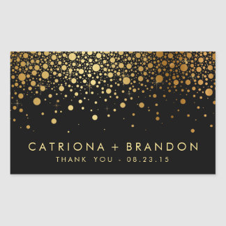 Faux Black and Gold Foil Confetti Favor Sticker