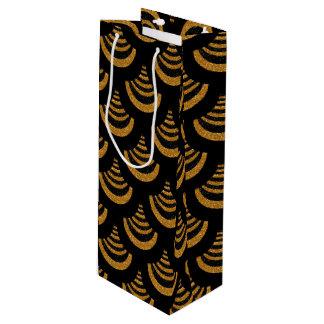 Faux Black & Gold Glitter | Art Deco Wine Gift Bag