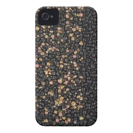 Faux black & Gold Seed Beaded Blackberry Case